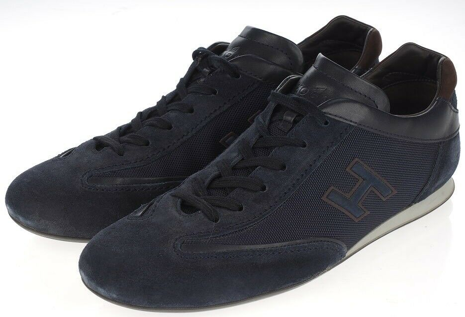 Scarpe casual da uomo  Auth Hogan uomos Navy Blue Leather H Logo Sneakers Shoes US 10