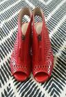 WITCHERY Red Leather Open Toe Sling Backs Pumps Wooden Heels Stilletos EU 39