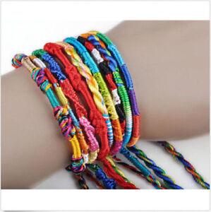 10pcs Arc-en-l' Amitié Boho Bracelets Fait Main Tissé Corde String Hippy Bijoux-afficher Le Titre D'origine Gamme ComplèTe D'Articles