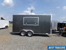 2021 7 X 16 Concession Vending Trailer New W Sinks Power And Ac Enclosed Grey