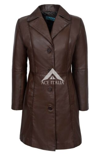 Chic Style Ladies Brown Classic Trench Mid Length Designer Leather Jacket Coat