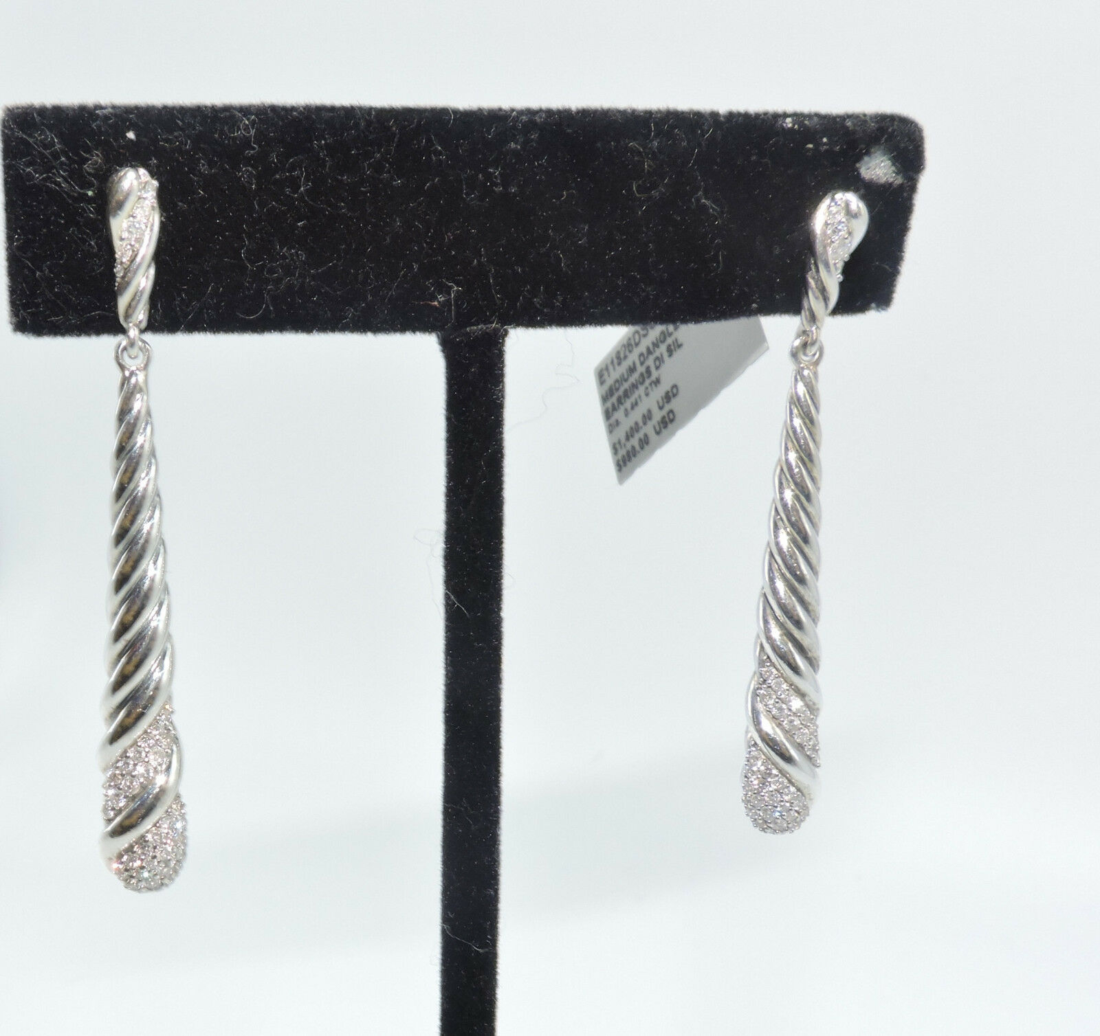 919743a855e25 David Yurman E11826DSSADI Cable Pave Diamond Dangle Sterling Silver  Earrings NWT