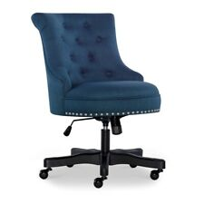 Linon Sinclair Wood Upholstered Office Chair In Blue