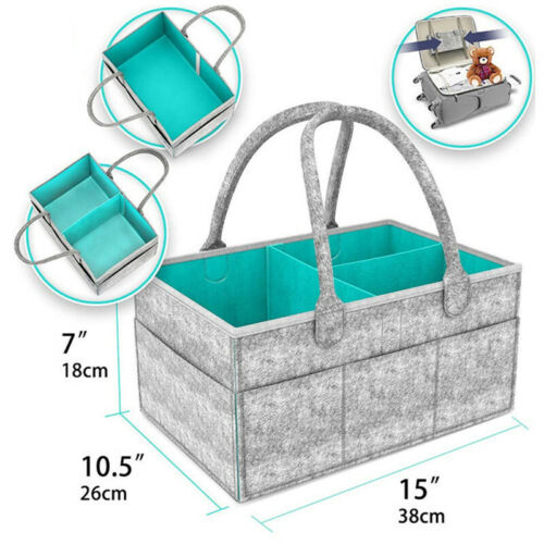 Portable Diaper Caddy Organiser Baby Nappy Storage Folding Basket Wipes Tote Bag
