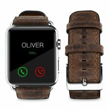 Pasbuy Genuine Leather Strap Band for Apple Watch Series 4 44mm Brown