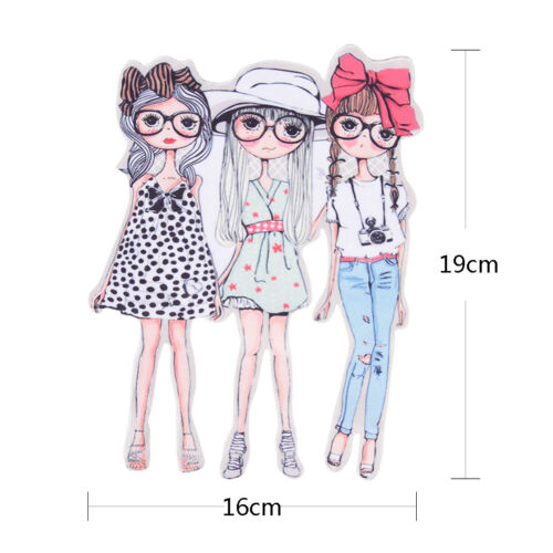 Pyrograph Fashion Girls Patterns Patch Irons On Washable Appliques Heat TransBSC