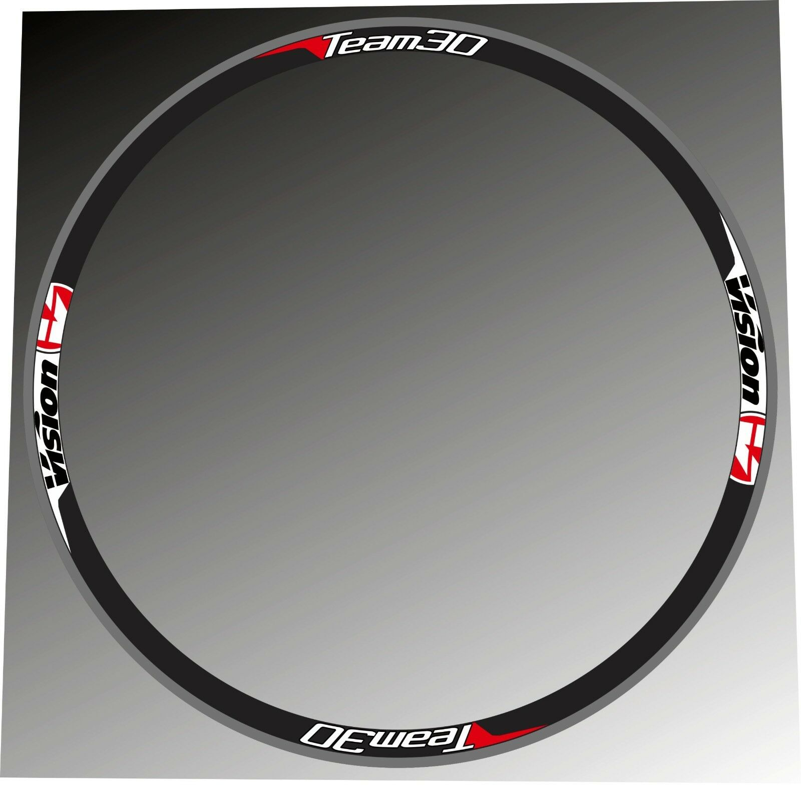 VISION TEAM 30 RED-WHITE COLOR REPLACEMENT RIM DECAL SET FOR 2 RIMS