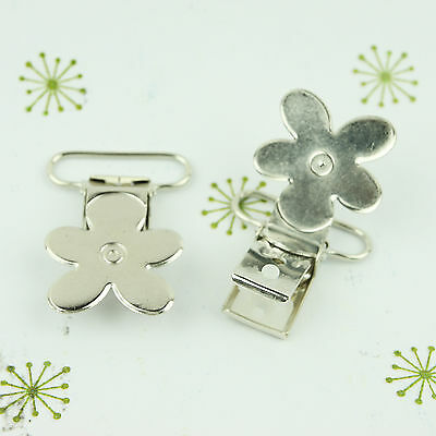 Flower Faced Pacifier Clips/ Suspender Clip 1 INCH Daisy Metal Dummy/Paci Holder