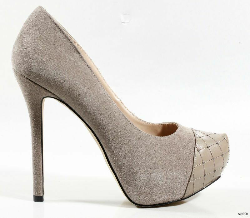NIB STEVE MADDEN taupe suede studded toe platforms heels shoes 9.5 - super HOT