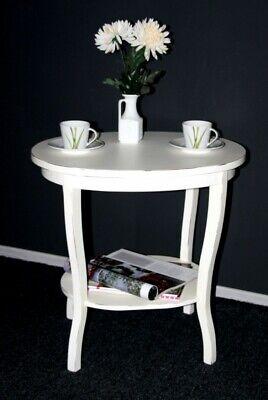 Massivholz Beistelltisch oval 57 weiß antik Vintage Teetisch Telefontisch Tisch | eBay