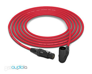 Mogami 2534 Quad Cable | Neutrik Gold XLR-F to 90º XLR-M | Red 40 Feet 40'