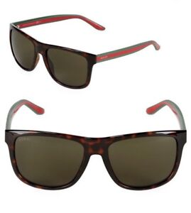 GUCCI Square Men Sunglasses GG 1118 S Shiny Tortoise Brown Green ... e57698dd6f