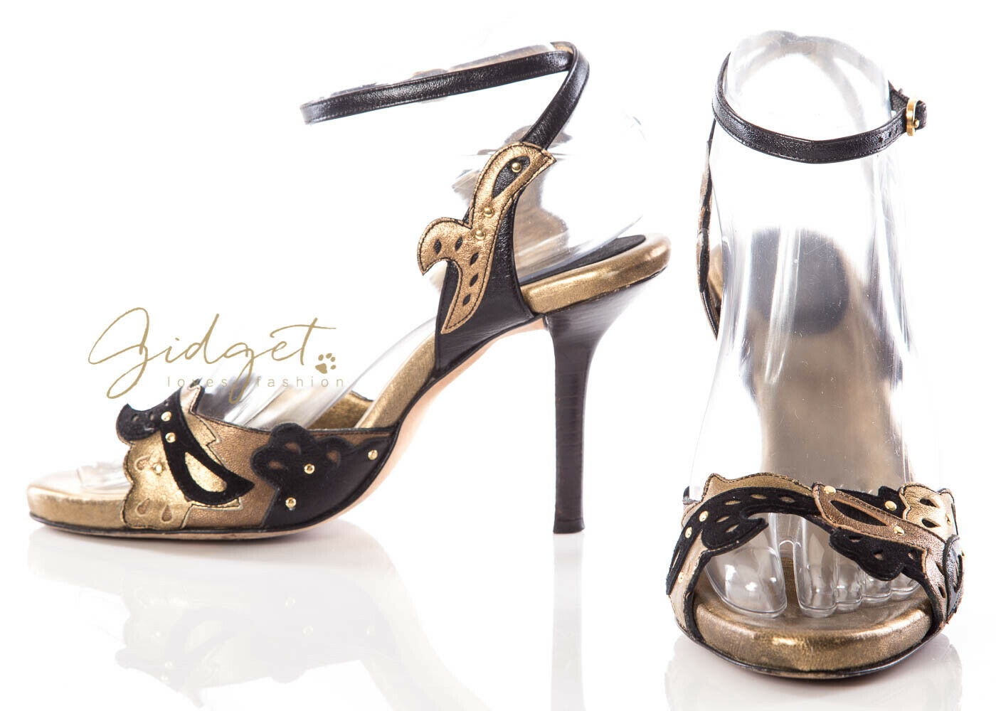 women Karan New York Size 7  Black gold Strappy Sandals Heels