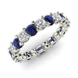 2.54 Ct Round Diamond Wedding Blue Sapphire 14K White Gold Finish Eternity Band