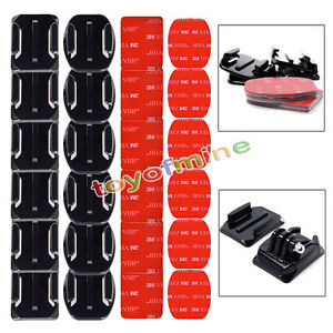 Lot-Flat-Curved-Adhesive-Mount-Helmet-Accessories-For-Gopro-Hero-1-2-3-3-4-Kit