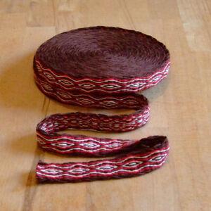 Mittelalter LARP Reenactment Handgewebte Brettchenborte Wolle braun-rot-natur