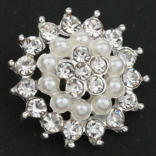 5 Stück Perlen Klar Strass Silber Blumen Knöpfe Nähen Handgemacht