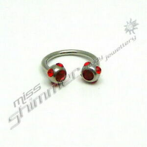 HORSESHOE-BAR-RED-OR-CLEAR-GEM-16g-MULTI-GEM-HORSE-SHOE
