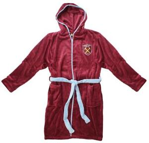 Boys Official West Ham United FC Hooded Fleece Dressing Gown Robes 3 To 12 Years