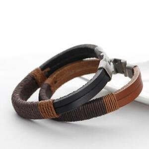 210Mm-Herren-Vintage-Hanf-Verpackungs-Leder-Armband-Armband-Stulpe-Schwarz-Braun