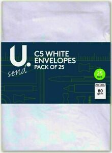 U-Send-C5-Peal-amp-Seal-Envelopes-White-80gsm-22-5-X-16cm-Pack-Of-25