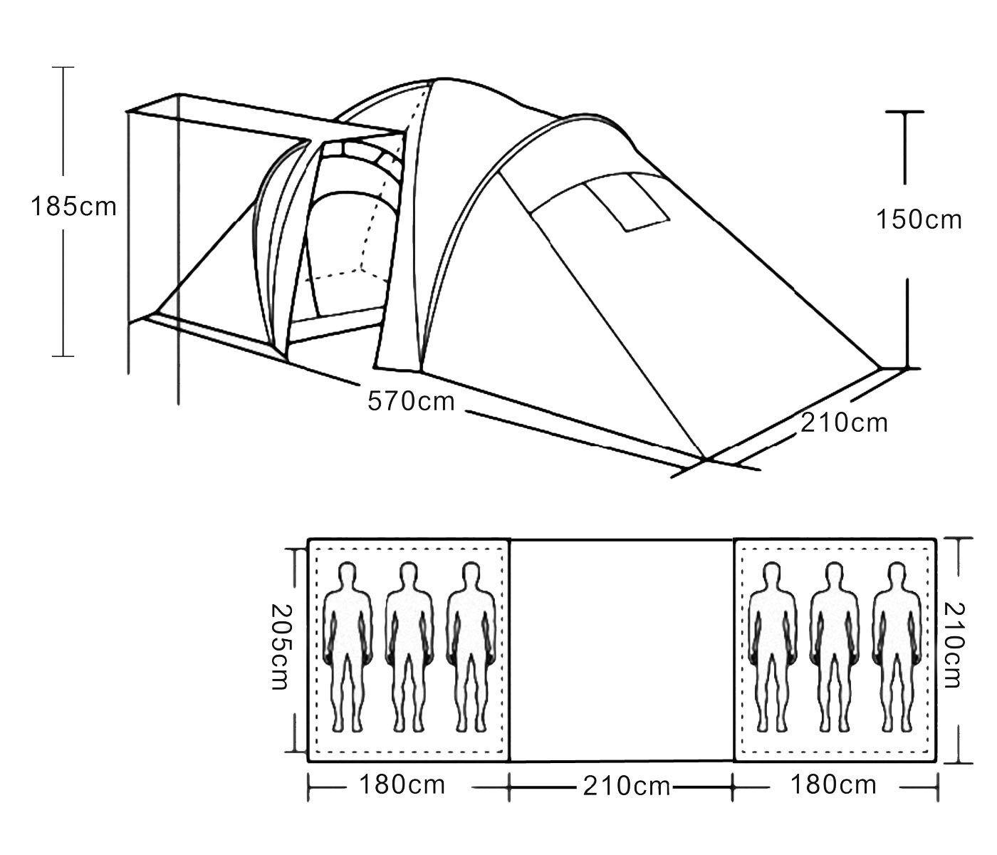 Tente de camping tente Loksa, 6-homme tente Kuppelzelt Igluzelt Festival-Tente, Festival-Tente, Igluzelt 6 personnes 40398d