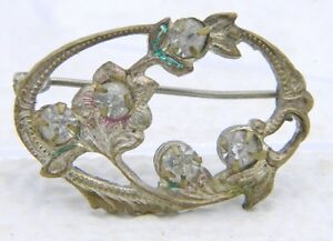 Antique-Victorian-Gold-Tone-Clear-Rhinestone-Flower-Pin-Brooch-C-Clasp
