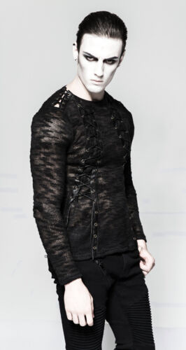 Top Allacciatura shirt Destroy Mesh T Gothic da uomo Vintage Punkrave Punk RSqwOR