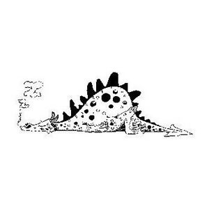 Rubber stamp sleeping DRAGON on ETCHED beech block A3658