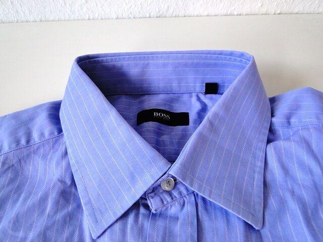 Hugo Boss Slim Fit Herren Hemd Langarm Blau Weiß Gestreift KW42   | Online einkaufen  | Lebhaft  | Fuxin