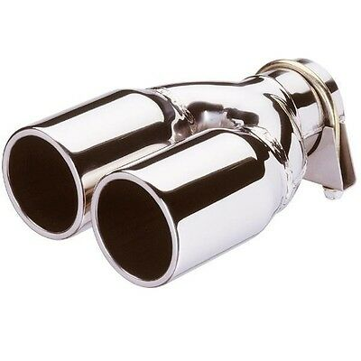 STAINLESS STEEL TWIN ROUND CHROME CAR EXHAUST TRIM NEW