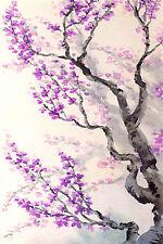 Impresionante resumen japonés Floral LONA pared arte Foto Flores Flor De #771