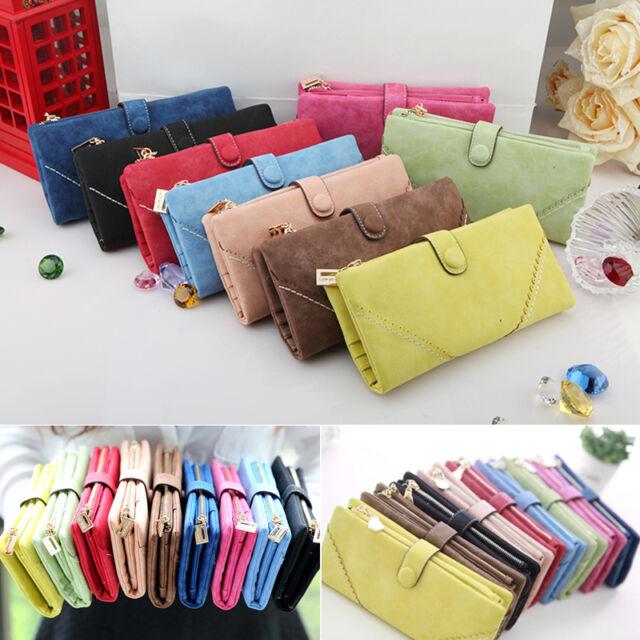 Damen Geldbörse Etuis Lange Portemonnaie Fashion Button Geldbeutel 9 Farbe HOT