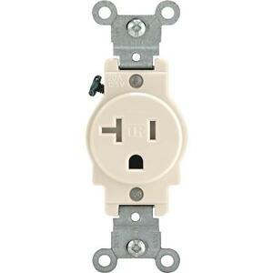 3leviton 20a Almond 520r 2 Pole 3 Wire Single Electric Outlet R56. Is Loading 3leviton20aalmond520r2pole. Wiring. Wiring Single Pole 20a Outlet At Scoala.co