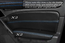 BLUE Stitch 2x ANTERIORE PORTA CARD Trim pelle copre gli accoppiamenti VW GOLF MK6 VI 08-13 e