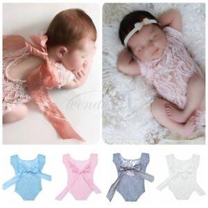 3b1b95ce7f6c Image is loading Newborn-Baby-Girl-Infant-Lace-Romper-Sunsuit-Bodysuit-
