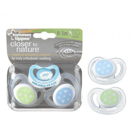 Tommee tippee 2-pack ctn c-air 0-3m sucettes-bleu//vert design pour garçons