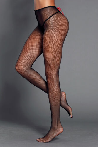 Classic Fishnet Pantyhose Black Satin Lace-up Detail Quality stretchnet One Size