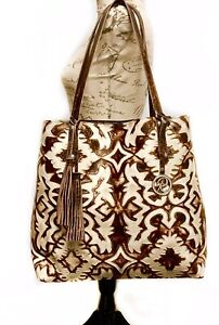 Raviani-Tote-Bag-In-Tan-amp-Brown-Laredo-Embossed-Cowhide-Leather-Made-In-USA