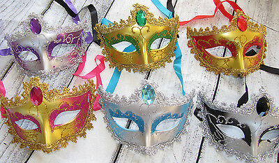 MARDI GRAS masquerade party props wedding Venetian MASKS 6 mask lot CHOOSE color