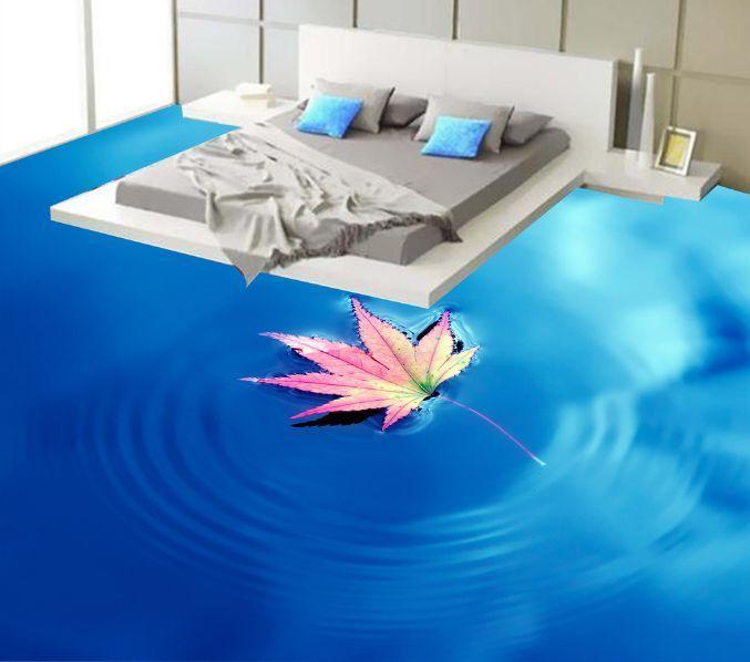 3D Foglie Galleggianti Pavimento Foto Wallpaper Murales Muro Stampa Decalcomania
