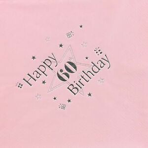 Image Is Loading 60th Birthday Decorations Luxury 3 Ply Napkins Pink