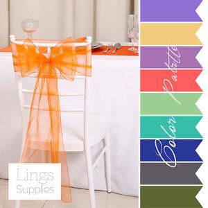 1-10-25-50-101-150-Organza-Chair-Sashes-8x108inch-20x275cm-Wedding-Party-Decor