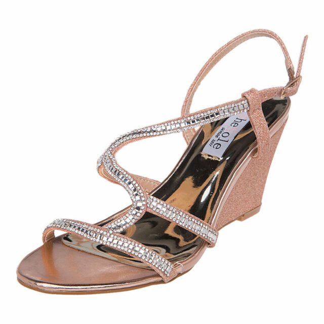 f2c0591460f Shesole Womens Gold Wedge Sandals HEELS Glitter Ankle Brace Wedding ...