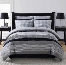 Black Grey White Striped Plaid 8 piece Comforter Bedding Set Queen Size