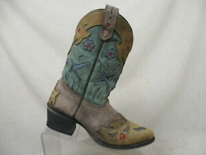 Dan-Post-Distress-Blue-Brown-Leather-Inlay-Floral-Cowboy-Boots-Youth-Sz-1-5-M