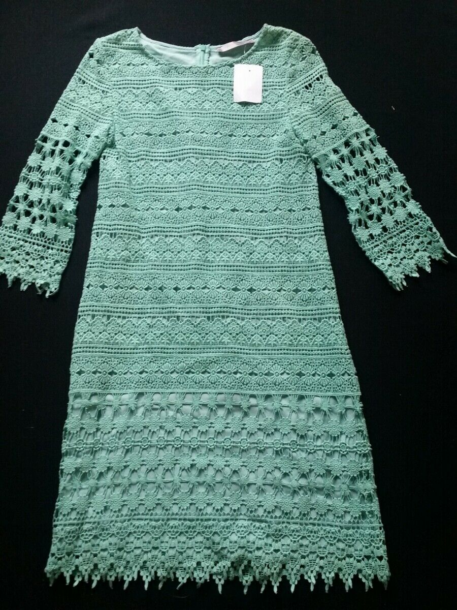HALLHUBER damen Kleid opal aus Häkelspitze Gr.36--UK8NEU