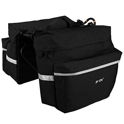 Bag Bike Bicycle Panniers //w Adjustable Hooks Carrying Handle 3M Reflective Trim