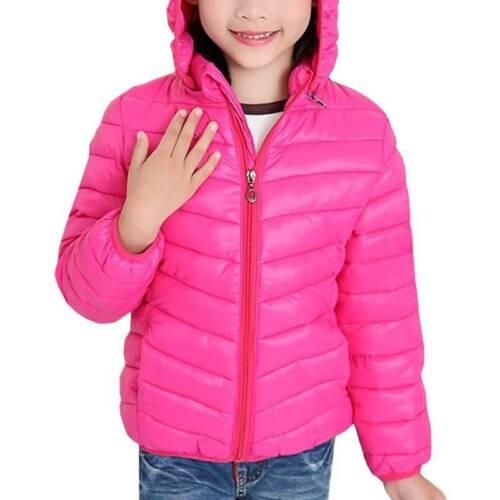 Children Kids Girls Boys Hooded Down Coat Winter Padded Jackets School Outwear