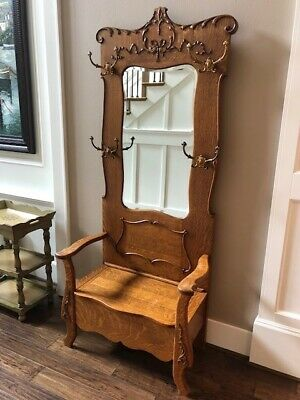 Antique Hall Seat Coat Tree Stand With Beveled Mirror
